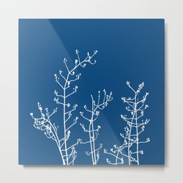 Elegant Floral on Classic Blue, Color of the Year 2020 Metal Print