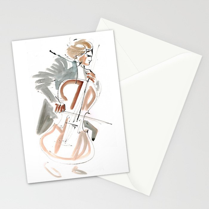Cello Player Musician Expressive Drawing Stationery Cards