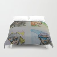 dc comics Duvet Covers featuring DC: Batgirls by aka-noodle