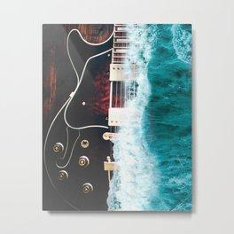 Guitar ocean Metal Print