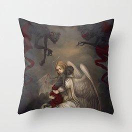 Sancti diabolo Throw Pillow