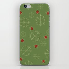 Snowflakes and stars - green and red iPhone Skin