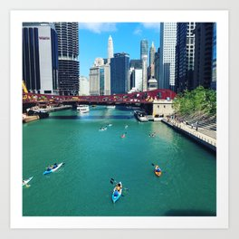 Chicago River Kayaks Art Print
