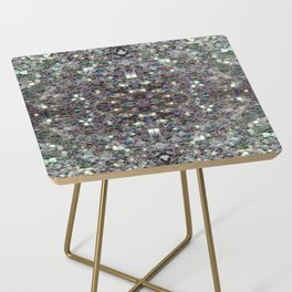 Sparkly colourful silver mosaic mandala Side Table
