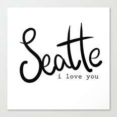 Seattle i love you  Canvas Print