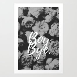 Boy Bye Flowers Art Print