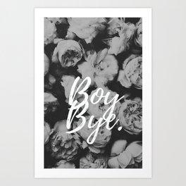 Boy Bye Flowers Art Print