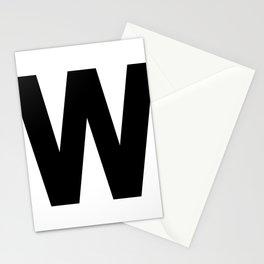 Letter W (Black & White) Stationery Cards