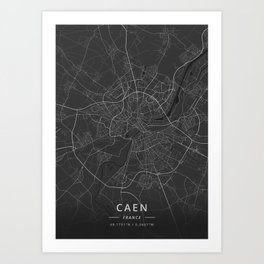 Caen, France - Dark Map Art Print