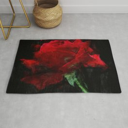 Red Rose Impressionist Painting Rug