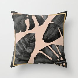 Classic Tropical Palm Leaves Powder Pink and Gold Throw Pillow