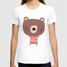 Christmas cute bears LARGE Womens Fitted Tee White