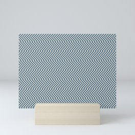 Hypnotic Blue & Linen White Stripe Pattern Pairs to 2020 Color of the Year Chinese Porcelain Mini Art Print