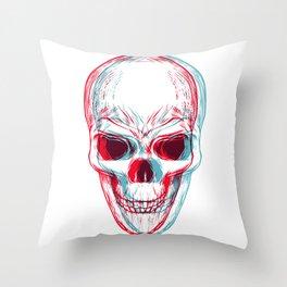 Trippy 3D Skull Throw Pillow