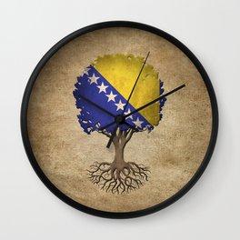 Vintage Tree of Life with Flag of Bosnia - Herzegovina Wall Clock