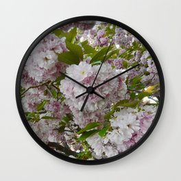 Cherry Blossom Poms Wall Clock