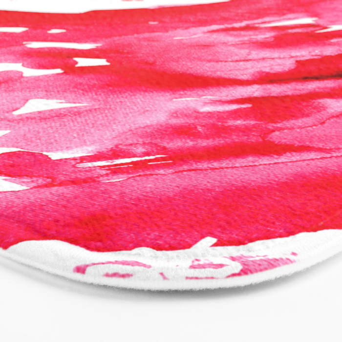 The One Who Came by Water and Blood. Watercolor Red Wave Bath Mat