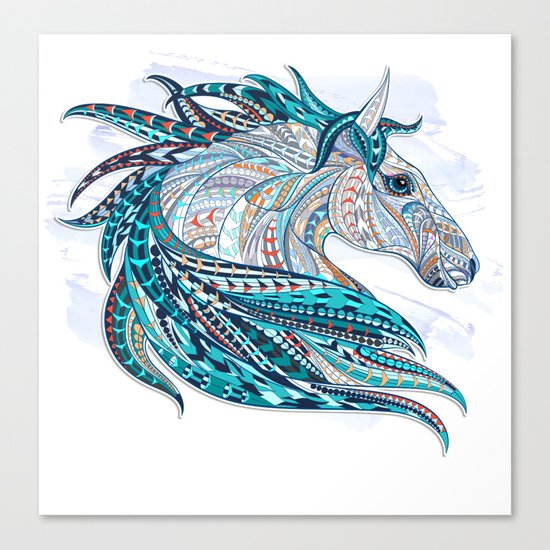 Blue Ethnic Horse Canvas Print