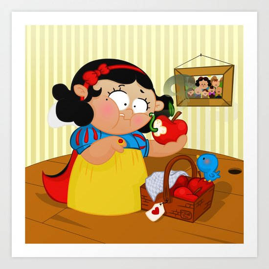 Snow White (apple) Art Print