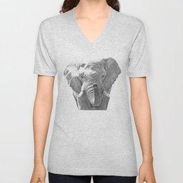 Black and white elephant illustration Unisex V-Neck