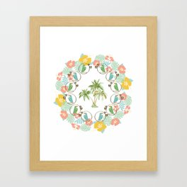 Cool Tropical Toucan Floral Framed Art Print