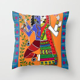 Madhubani Painting / Painting of God Shiv and Mata Parvati/ Madhubani Hub /Original painting of Amrita Gupta Throw Pillow