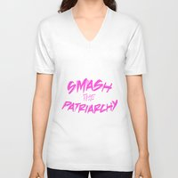 patriarchy V-neck T-shirts featuring Smash the Patriarchy by tjseesxe