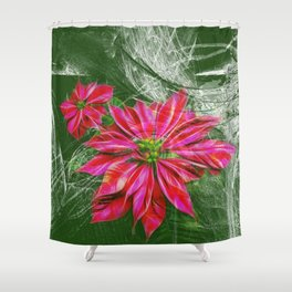Abstract vibrant red poinsettia on green texture Shower Curtain