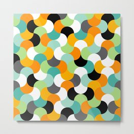 Colorful geometric interlocking shapes pattern, modern tiling in green, blue, orange, black and turu Metal Print