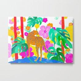 Jaguar in Tropical Garden Metal Print