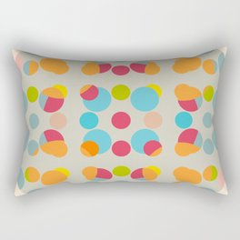 Abath - Colorful Dots in Circle on Beige Rectangular Pillow