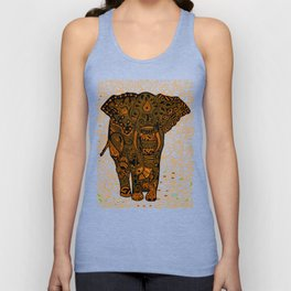 Aztec Elephant With Floral Pattern Unisex Tank Top