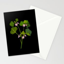 Malva Parviflora Mary Delany Floral Flower Paper Collage Delicate Vintage Black Background Botanical Stationery Cards