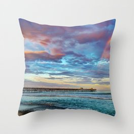 The Rainbow at the End of the Pier Throw Pillow