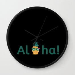 Aloha Hawaii Pineapple Summer Vibes Beach Paradise Chill Time Wall Clock