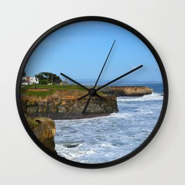 Ocean Cliffs in Santa Cruz Wall Clock