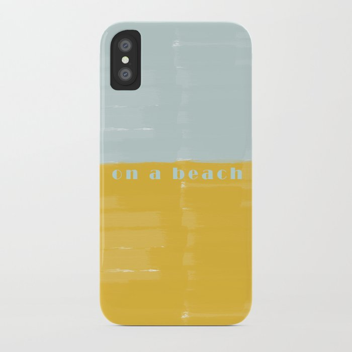 On a Beach Mint Yellow Watercolor iPhone Case