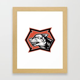 Angry Wolf Wild Dog Retro Framed Art Print