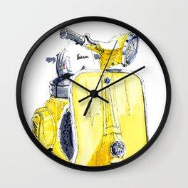 Yellow Vespa 50s Wall Clock