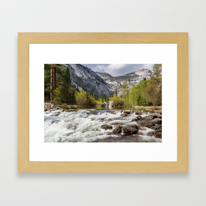 Mirror Lake and Rapids at Yosemite Framed Art Print