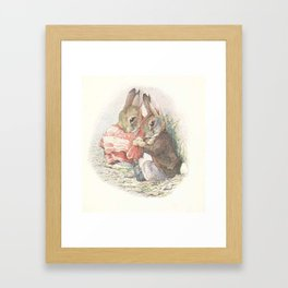 Mummy Rabbit in a blanket Framed Art Print