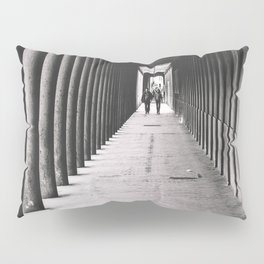 Arcade with columns in Copenhagen, architecture black and white photography Pillow Sham