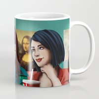 daria Mugs featuring Daria with Pizza and Friends by Artik