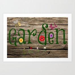 Whimsical Garden Sign Wood Background Art Print