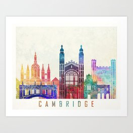 Cambridge landmarks watercolor poster Art Print
