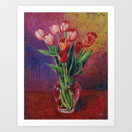 A Table For Tulips Art Print