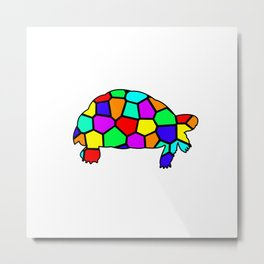 Leopard Tortoise with stain glass pattern Metal Print