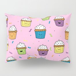Cute Happy Fun Cupcakes with pink background Pillow Sham