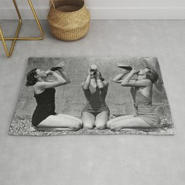 What the girls drink when the guys aren't looking - three girlfriends drinking at the beach black and white photograph Rug