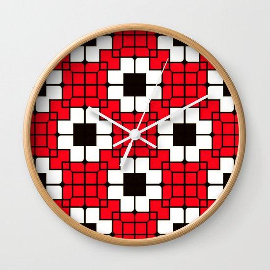 Retro Mosaic Red & Black Wall Clock